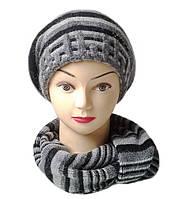 Комплект женский вязаный берет и шарф Polina шерсть с ангорой цвет серый темный