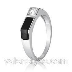 Мужской перстень серебряный с ониксом К2ФО/496