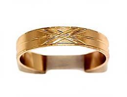 Обручальное кольцо. Рифлёное. Фирма Xuping, цвет: позолота . Ширина кольца: 4 мм. Есть с 16 р. по 22 р.
