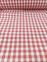 "Льняная ткань в красную клетку ""Italian pizzeria"" , фото 1"