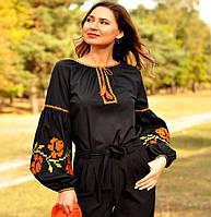 Жіноча вишиванка чорного кольору