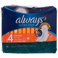 Always, Ультратонкие с крылышками, размер 4, ночные, 14 прокладок