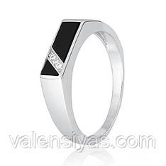 Перстень мужской серебряный с черным камнем К2ФО/498