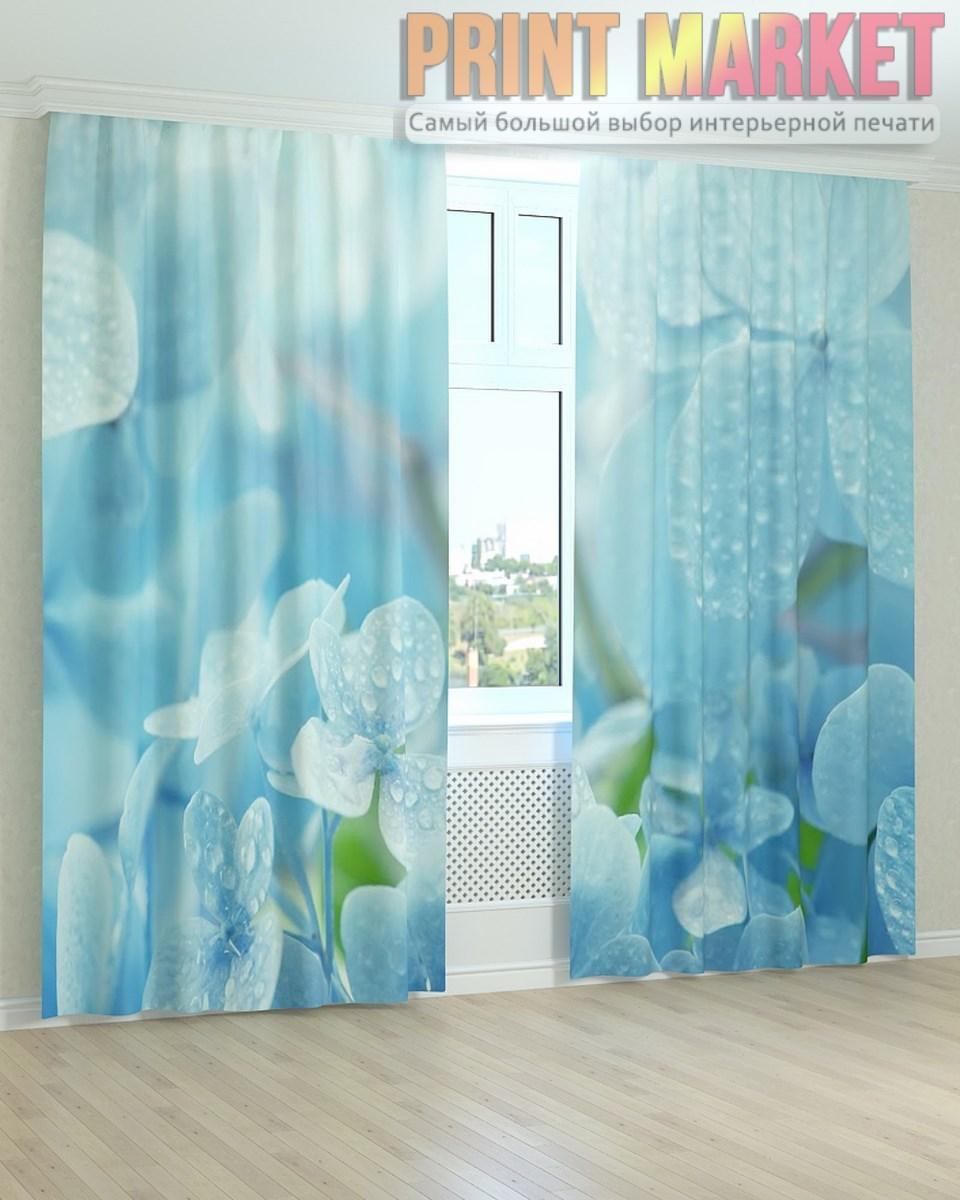 Фото шторы капли на голубых цветах