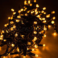 Уличная светодиодная гирлянда 100 LED теплый белый(золотистый) 10 м черный провод
