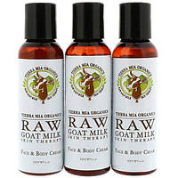 Tierra Mia Organics, Raw Goat Milk Skin Therapy, Face & Body Cream, Lavender + Vanilla + Coconut, 3 Bottles, 2oz (56 g) each