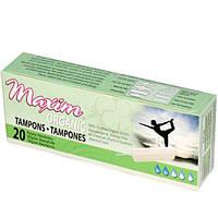 Maxim Hygiene Products, Maxim Organic Tampons, обычная степень впитывания, 20 тампонов