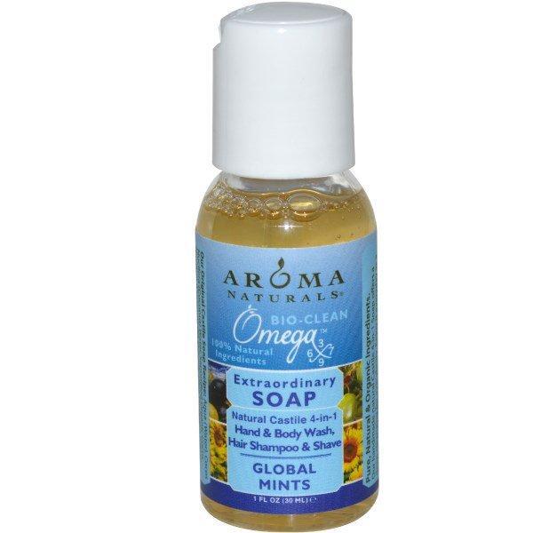 Aroma Naturals, Extraordinary Soap, средство для мытья рук и тела, волос и бритья, мята 1 жидких унции (30 мл)