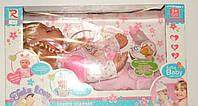 Кукла 8812 мягкотелая, звук (рус), подушка, бутылочка, соска