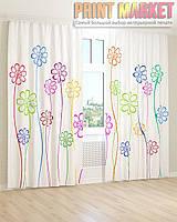 Фото шторы цветные цветы 3д
