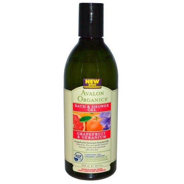 Avalon Organics, Bath & Shower Gel, Grapefruit & Geranium, 12 fl oz (355 ml)