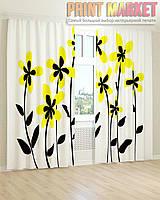 Фото шторы желто-черные цветы