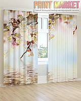 Фото шторы ветка с белыми цветами