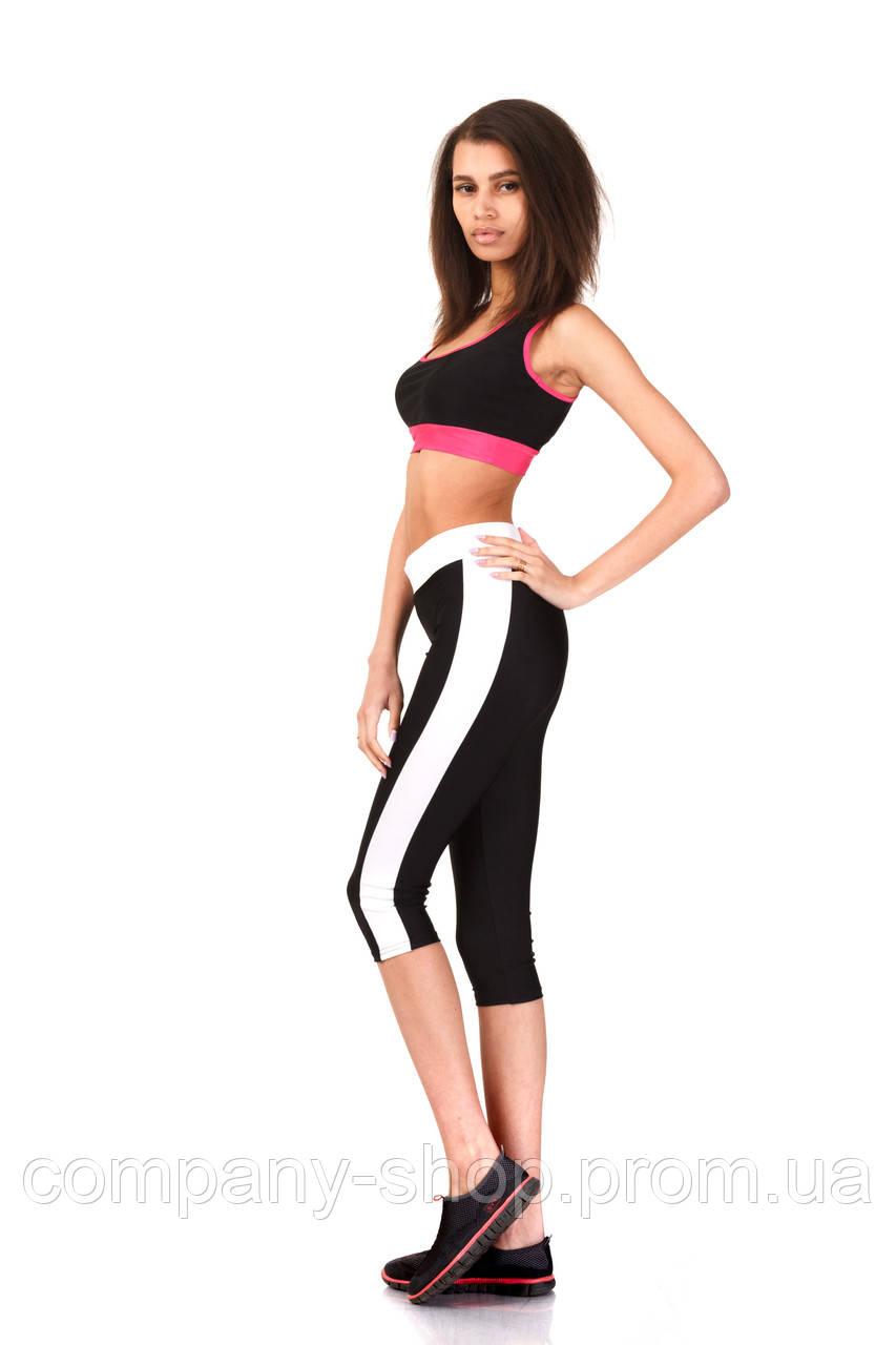 Женские комбинированные капри черно-белые. Модель КА018_черный с белым., фото 1