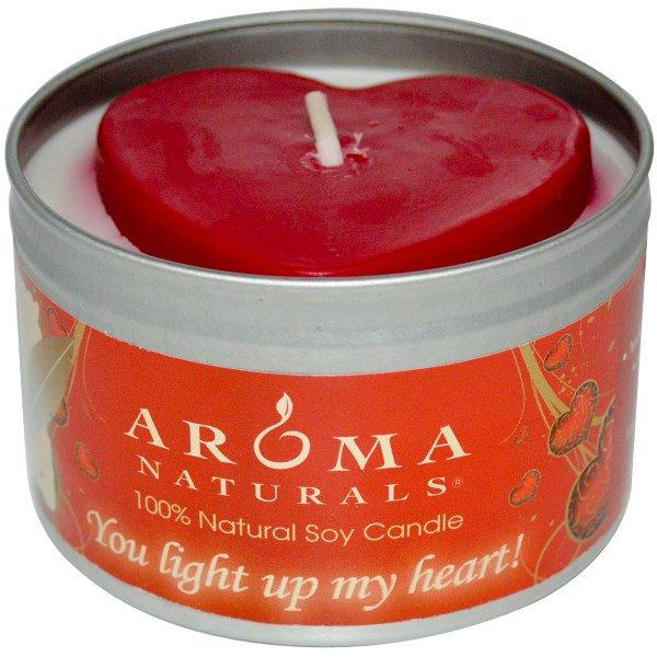 Aroma Naturals, 100% Natural Soy Candle, You Light Up My Heart!, 6.5 oz