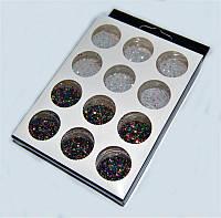 Песок цветной для дизайна ногтей YRE NDP-12BW, набор 12 шт, черный и белый, песок для дизайна ногтей, декор ногтей, песочный маникюр, глитер - песок