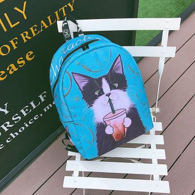 Бирюзовый рюкзак Кот с колой