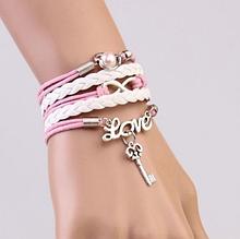Кожаный браслет «Love» 20 см белый/розовый