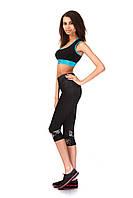 Женские капри для занятий спортом оптом. Модель КА022_черный с леопардовым., фото 1
