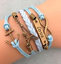 Кожаный браслет «Love» 20 см голубой