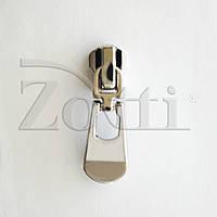 Бегунок (собачка, застежка) №120, серебряный (никель), для металлической молнии (змейки, застежки) №5