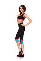 Женские капри для занятий спортом оптом. Модель КА022_розово-бирюзовые вставки., фото 1