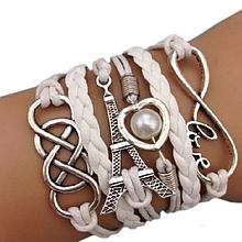 Кожаный браслет «Love» 20 см белый