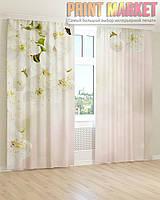 Фото шторы белые цветки 3D