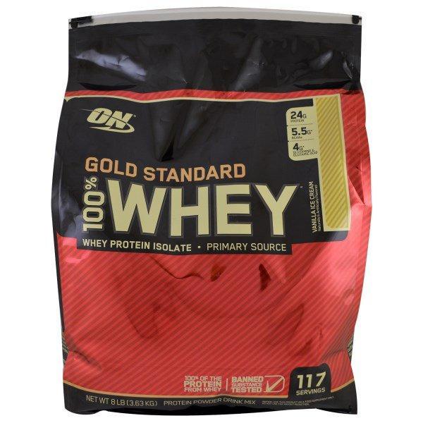 Optimum Nutrition, Золотой стандарт, 100% сыворотка, ванильное мороженое, 8 фунтов (3,63 кг)