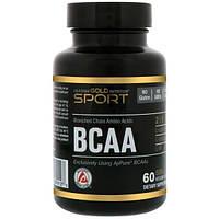 California Gold Nutrition, CGN, Спорт, аминокислоты с разветвлённой цепью, 500 мг, 60 вегетарианских капсул