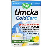 Nature's Way, Umcka ColdCare, Успокаивающий горячий напиток, со вкусом лимона, 10 пакетиков