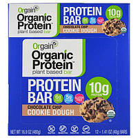 Orgain, Органический протеиновый батончик на растительной основе, шоколадное тесто для печенья, 12 батончиков, 40 г (1,41 унции)