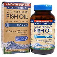 Wiley's Finest, Аляскинский рыбий жир, пик ЭПК, 1250 мг, 120 рыбных  мягких капсул
