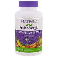 Natrol, Фрукты и овощи каждый день, Полноценный суперфуд, 90 вегетарианских капсул