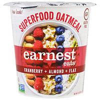 Earnest Eats, Овсяная крупа-суперпродукт, клюква + миндаль + лен, американская смесь, 2,35 унции (67 г)