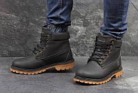 Чоловічі зимові черевики  Timberland  чорні, коричнева  підошва(3418)