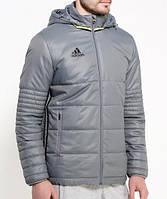 Куртка спортивная мужская adidas CON16 PAD JKT AN9868 (серая, зимняя, синтепон, с капюшоном, логотип адидас)