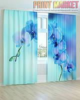Фото шторы нежно голубая орхидея 3д