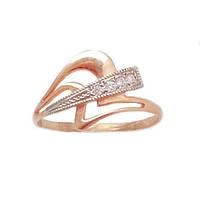 Золотое кольцо с фианитами и белым золотом 1-005