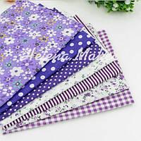 """Набор ткани для рукоделия """"Фиолетовый ситец""""  7 отрезов, фото 1"""
