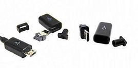 Штекер microUSB разборной на кабель для пайки (Черный)