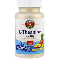 KAL, L-теанин, ActivMelt, ананасовая мечта, 25 мг, 120 микротаблеток