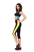 Спортивные капри бриджи с кантами по бокам. Модель КА023_черный с желтым., фото 1