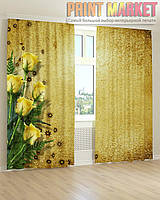 Фото шторы желтые розы 3д