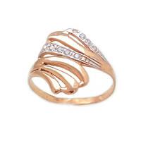 Золотое кольцо с фианитами и белым золотом 1-611 585