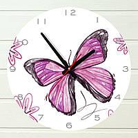 """Настенные часы в детскую - """"Бабочка"""" (на пластике)"""