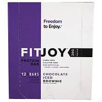 FITJOY, Протеиновый батончик, покрытый шоколадной глазурью печенье, 12 батончиков, 2,18 унций (62 г) каждый