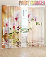 Фото шторы бело-розовая ветка орхидеи