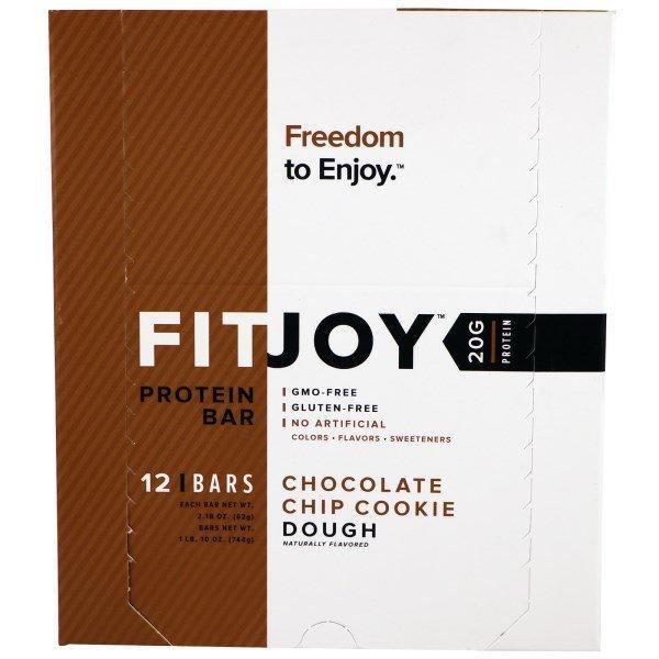 FITJOY, Протеиновый батончик, печенье с шоколадной крошкой, 12 батончиков, 2,18 унц. (62 г) каждый