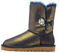 Женские зимние короткие сапоги - угги UGG Bailey Button Metallic Blue/Gold